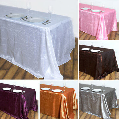 30 Wholesale RECTANGLE 90x132 Crinkled Taffeta Large TABLECLOTHS Wedding Party