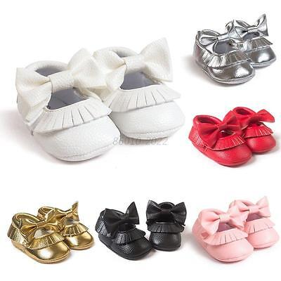 Baby Girl Party Princess Bowknot Crib Shoes PU Leather Moccasin Prewalker Shoes