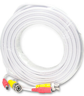 50Ft Video Power Cable CCTV Security Camera Extension Wire DVR BNC RCA Cord