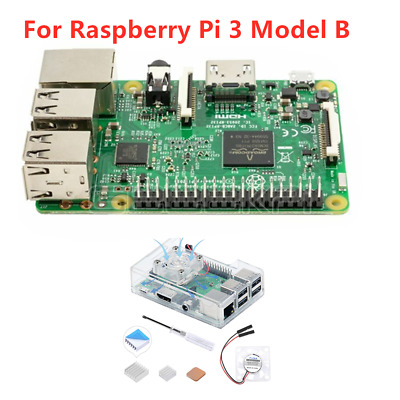 Raspberry Pi 3 Model B 1.2GHz 1GB RAM WiFi & Bluetooth + Heatsinks + Black Case