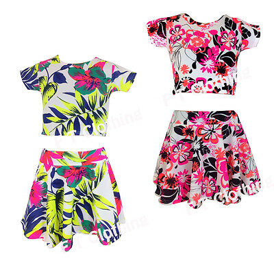 New Kids Girls Neon Floral Beach Skirts Top Set Age : 7 8 9 10 11 12 13 Years