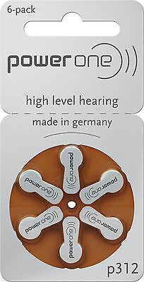 Power One p312 Hearing Aid Battery (10 Packs of 6 Each) Size 312