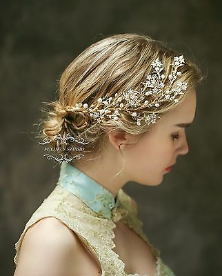 Freshwater Pearl Bridal Hair Vine Vintage Gorgeous Golden hair piece