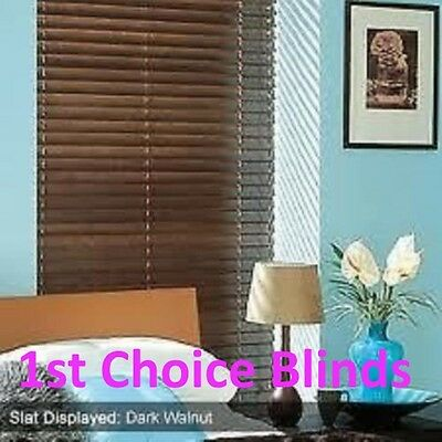 Superior Made To Measure Wooden Venetian Blind Walnut Mahogany (Bali) Real Wood