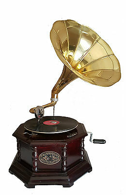 Reproduction Gramophone Player - 78 rpm vinyl phonograph (Hexagonal)
