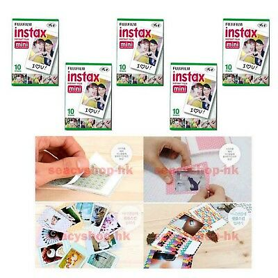 5 Packs FujiFilm Fuji Instax Mini Film,50 Instant Photo 7s 8 90 100 Polaroid 300