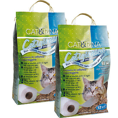 Lettiera Sabbia Gatto Biodegradabile Cellulosa 2x12lt Smaltibile Wc Zero Polveri