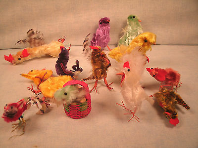 Vintage Chenille Roosters Hens Chicks and Chick in a Basket