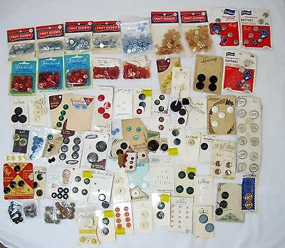 Vintage Mixed Lot Bakelite Metal Color Old Sewing Buttons with Cards