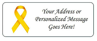 60 Personalized Childhood Cancer Awareness Ribbon Return Address Labels