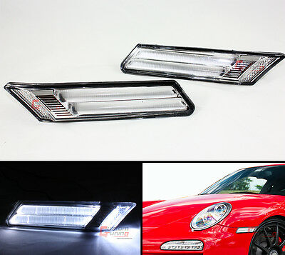 For 05-12 Porsche 911/997/987/Boxster/Cayman Clear Led Bumper Side Marker Lights