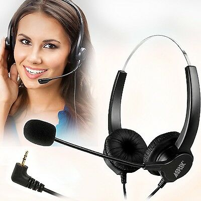 2.5mm Dual Ear Call Center Telephone Headphone 6FT Noise Cancelling headset