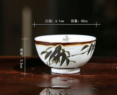 50Ml Boutique Chinese Porcelain Painted Bamboo Tea Cup