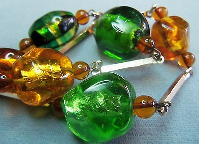 Vintage Gorgeous Colorful Foiled Heavy Poured Glass Necklace Green & Topaz