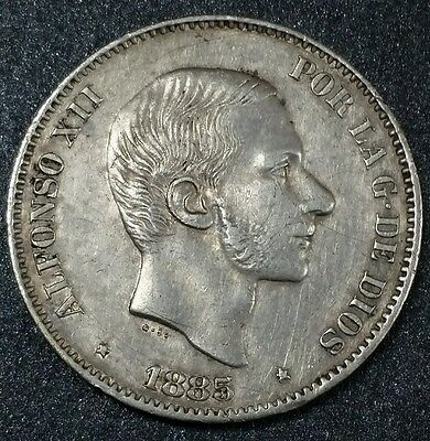 1885 ☆Philippines~50 céntimos Spanish Colonial☆ Nice Condition Silver Coin