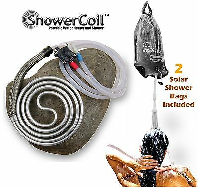BoundaryTEC ShowerCoil Portable Water Heater Camping Shower camp coil fire solar