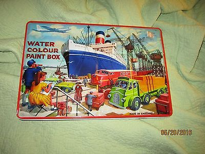 Vintage Rare Water Color Metal Paint Box Made In England Page London Shipyard