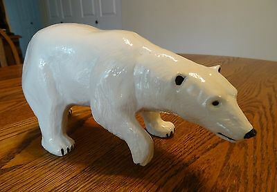 Vintage Large White Polar Bear marked @1975 Duncan Ceramic Prod. Inc.