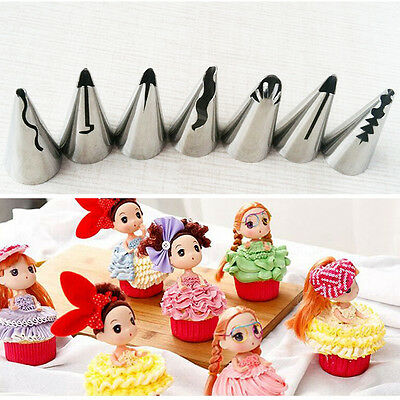 7pc Stainless Flower Icing Piping Nozzles Cake Candy Pastry Tips Baking Tool