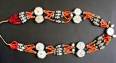 Bukhara Ancient Turkman Wedding Antique Silver Onyx Necklace Coral Beads