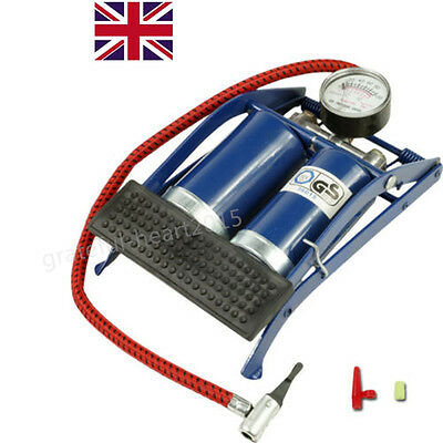 Twin Double Barrel Cylinder Air Inflator Foot Pump Car Van Bicycle Bike Tyre Uk
