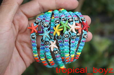 10 Sea Star Fish with Rainbow Bone Beads BLUE Slip-Knotted Bracelets Wholesale
