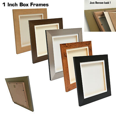 """3D 1"""" Deep Box Picture Frame Display Memory Box For Medals Scrabble + casts etc"""