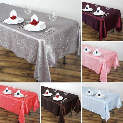 "15 RECTANGLE 60x102"" Crinkled Taffeta TABLECLOTHS Wedding Party Linens SALE"