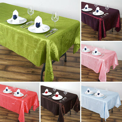 "5 pcs RECTANGLE 60x102"" Crinkled Taffeta TABLECLOTHS Wedding Party Linens SALE"