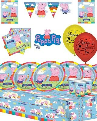 Peppa Pig Summer Time Party Tableware Decorations Kit - Pack for 16 Guests