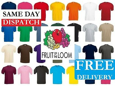 Fruit of the Loom 100% Cotton Plain Blank Men's Women's Tee Shirt Tshirt T-Shirt