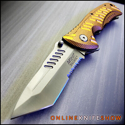 """8.25"""" TAN GOLD SPRING ASSISTED POCKET KNIFE Tactical Tanto Folding Blade M-Tech"""