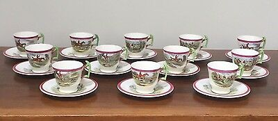 Spode Herring Hunt Series Red Footed Demitasse Cup & Saucer ~ Set of 12
