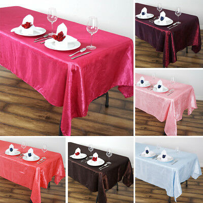"10 pcs RECTANGLE 60x102"" Crinkled Taffeta TABLECLOTHS Wedding Party Linens SALE"