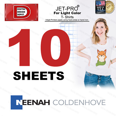 JET-PRO®  Inkjet Heat Transfer Paper Light color t shirt 8.5x11 10 sheets