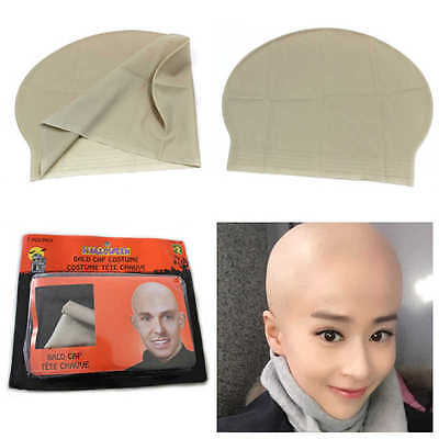 Fake Bald Head Skinhead Baldy Clown Mens Ladies Fancy Dress Wig Skull Cap