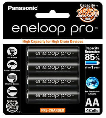 4 x Panasonic Eneloop Pro rechargeable AA battery pack MADE IN JAPAN 2550MAH