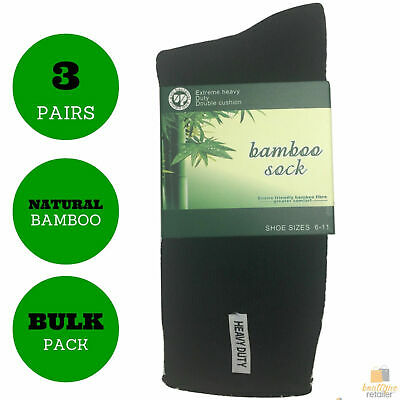 3 Pairs BAMBOO SOCKS Men's Heavy Duty Premium Thick Work Socks Cushion BULK New