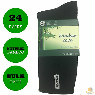 24 Pairs BAMBOO SOCKS Men's Heavy Duty Premium Thick Work Socks Cushion BULK New
