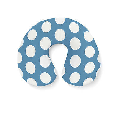 Large Polka Dots on Blue Travel Neck Pillow - Inflatable