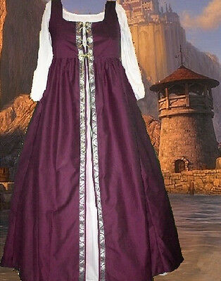 Costume Medieval Gown Renaissance SCA Garb Irish Style Wine Overdress LXL