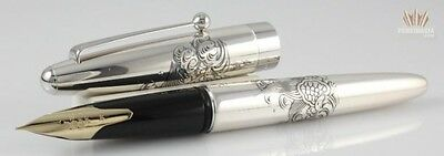 Namiki Sterling Silver Turtle Fountain Pen Beautifully Etched On The Pen Elegant