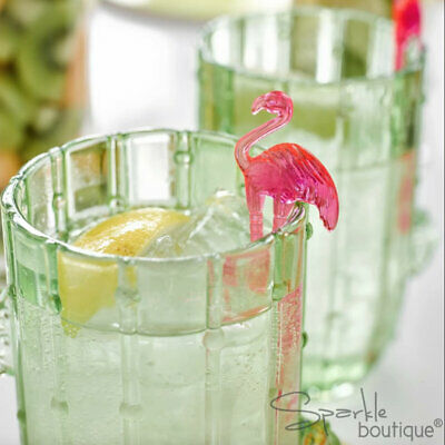 Tropical FLAMINGO DRINK STIRRERS -Pink Cocktail Sticks-BBQ/Summer Party/Hawaiian