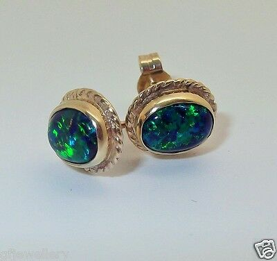 Solid 9Ct Yellow Gold Cabochon Oval Black Opal Rope Edge 10 X 8Mm Stud Earrings