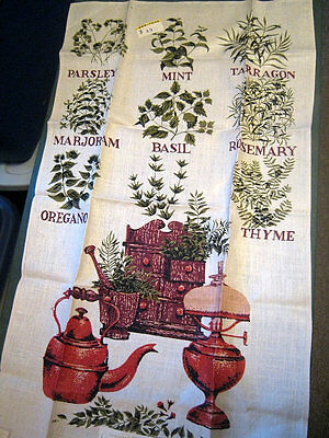 Vintage Herbs Tea Towel