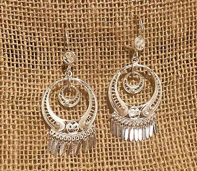 Frida Kahlo Style Sterling Silver Round Filigree Earrings  from Taxco Mexico