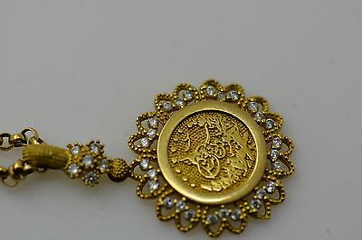 Vintage 8ct Gold Ottoman Islamic pendant & chain decorated with 33 diamonds