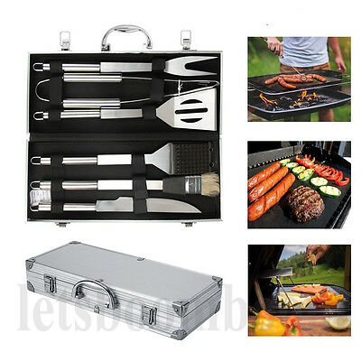 6 PCS Stainless Steel BBQ Tools Barbecue Grill Tool Set Utensils With Case New