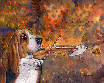 Basset hound dog 8x10 art print playing violin fiddle music strings Susan Alison