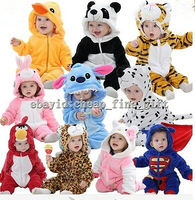 Child Baby Animal Hooded Romper Pyjama Kid Boys Girls Cartoon Sleepwear 0-2Y